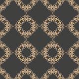 För modellbakgrund för vektor blomma för blad för vinranka för ram för damast sömlös retro kurva spiral arg Elegant lyxig brun si stock illustrationer