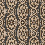 För modellbakgrund för vektor blomma för ram för damast sömlös retro kurva för runda oval spiral arg Elegant lyxig brun signaldes royaltyfri illustrationer