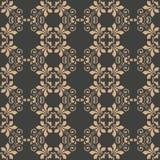 För modellbakgrund för vektor blomma för ram för vinranka för blad för damast sömlös retro kurva spiral arg Elegant lyxig brun si stock illustrationer