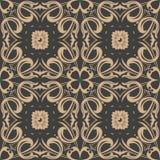 För modellbakgrund för vektor blomma för ram för vinranka för växt för damast sömlös retro kurva spiral arg Elegant lyxig brun si stock illustrationer
