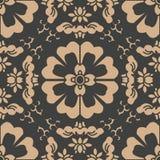 För modellbakgrund för vektor blomma för vinranka för blad för damast sömlös retro kurva orientalisk rund arg Elegant lyxig brun  stock illustrationer