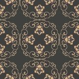 För modellbakgrund för vektor blomma för vinranka för blad för damast sömlös retro orientalisk spiral polygon för kurva arg Elega royaltyfri illustrationer