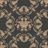 För modellbakgrund för vektor blomma för vinranka för blad för ram för damast sömlös retro kurva orientalisk spiral arg Elegant l stock illustrationer