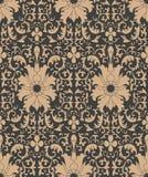 För modellbakgrund för vektor blomma för vinranka för ram för blad för damast sömlös retro kurva för botanisk trädgård spiral arg royaltyfri illustrationer