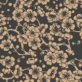 För modellbakgrund för vektor blomning för plommon för blomma för ram för blad för damast sömlös retro kurva orientalisk spiral a royaltyfri illustrationer
