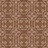 För modellbakgrund för vektor damast sömlös byracka för spiral för runda för brunt royaltyfri illustrationer