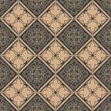 För modellbakgrund för vektor damast sömlös retro linje för blomma för ram för geometri för kurva för kontroll Elegant lyxig brun vektor illustrationer