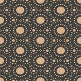 För modellbakgrund för vektor damast sömlös retro linje geometriram för prick för runda Elegant lyxig brun signaldesign för tapet stock illustrationer