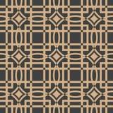 För modellbakgrund för vektor damast sömlös retro linje för ram för crosscheck för kurva för fyrkant Elegant lyxig brun signaldes stock illustrationer
