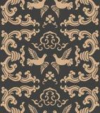 För modellbakgrund för vektor duva för fågel för vapen för damast sömlös retro kurva orientalisk spiral arg Elegant lyxig brun si royaltyfri illustrationer