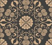 För modellbakgrund för vektor kalebass för blomma för vinranka för blad för damast sömlös retro orientalisk spiral polygon för ku vektor illustrationer