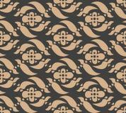 För modellbakgrund för vektor kalejdoskop för blomma för damast sömlös retro kurva spiral arg Elegant lyxig brun signaldesign för royaltyfri illustrationer