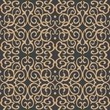 För modellbakgrund för vektor kalejdoskop för kedja för berömmelse för damast sömlös retro kurva spiral arg royaltyfri illustrationer