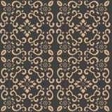 För modellbakgrund för vektor kedja för blomma för blad för vinranka för ram för damast sömlös retro kurva orientalisk rund spira vektor illustrationer