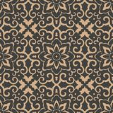 För modellbakgrund för vektor kedja för blomma för blad för vinranka för ram för damast sömlös retro kurva orientalisk rund spira stock illustrationer