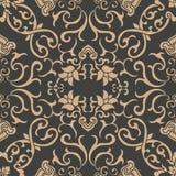 För modellbakgrund för vektor kedja för blomma för blad för vinranka för ram för damast sömlös retro kurva orientalisk rund spira royaltyfri illustrationer