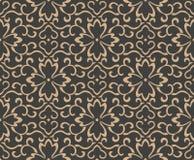 För modellbakgrund för vektor kedja för blomma för vinranka för blad för ram för damast sömlös retro kurva orientalisk spiral arg royaltyfri illustrationer