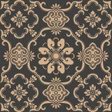 För modellbakgrund för vektor kedja för blomma för vinranka för blad för ram för damast sömlös retro kurva orientalisk spiral arg vektor illustrationer