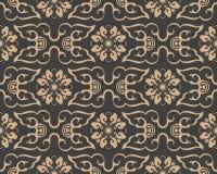 För modellbakgrund för vektor kedja för blomma för vinranka för blad för ram för damast sömlös retro kurva orientalisk spiral arg stock illustrationer