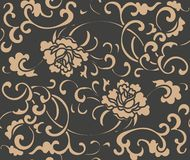 För modellbakgrund för vektor krans för vinranka för ram för blad för pion för blomma för damast sömlös retro kurva spiral arg El stock illustrationer