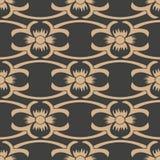 För modellbakgrund för vektor linje blomma för vinranka för ram för damast sömlös retro kurva arg Elegant lyxig brun signaldesign vektor illustrationer