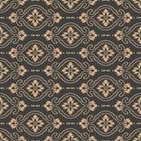 För modellbakgrund för vektor linje blomma för vinranka för ram för damast sömlös retro kurva arg Elegant lyxig brun signaldesign royaltyfri illustrationer
