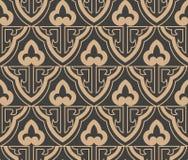 För modellbakgrund för vektor linje för kedja för ram för damast sömlös retro orientalisk triangel för kurva arg Elegant lyxig br royaltyfri illustrationer