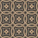För modellbakgrund för vektor linje för ram för damast sömlös retro kurva för runda arg blomma Elegant lyxig brun signaldesign fö stock illustrationer