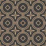 För modellbakgrund för vektor linje för ram för damast sömlös retro kurva för runda arg Elegant lyxig brun signaldesign för tapet stock illustrationer