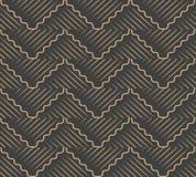 För modellbakgrund för vektor linje för ram för damast sömlös retro spiral våg för kurva arg Elegant lyxig brun signaldesign för royaltyfri illustrationer