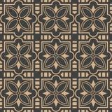 För modellbakgrund för vektor linje för ram för geometri för damast sömlös retro kurva arg blommakalejdoskop Elegant lyxig brun s royaltyfri illustrationer