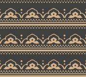 För modellbakgrund för vektor linje för ram för geometri för damast sömlös retro kurva arg Elegant lyxig brun signaldesign för ta vektor illustrationer