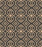 För modellbakgrund för vektor linje för ram för geometri för damast sömlös retro kurva spiral arg Elegant lyxig brun signaldesign royaltyfri illustrationer