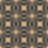För modellbakgrund för vektor linje för ram för stjärna för damast sömlös retro kurva för runda arg Elegant lyxig brun signaldesi stock illustrationer