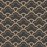 För modellbakgrund för vektor linje för våg för ram för damast sömlös retro kurva arg Elegant lyxig brun signaldesign för tapeter royaltyfri illustrationer