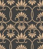 För modellbakgrund för vektor orientalisk blomma för damast sömlös retro spiral ram för kurva arg Elegant lyxig brun signaldesign stock illustrationer