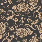 För modellbakgrund för vektor pion för blomma för ram för blad för damast sömlös retro kurva spiral arg Elegant lyxig brun signal stock illustrationer