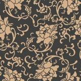 För modellbakgrund för vektor pion för blomma för vinranka för ram för blad för damast sömlös retro kurva spiral arg Elegant lyxi royaltyfri illustrationer