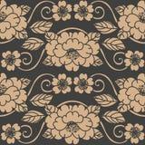 För modellbakgrund för vektor pion för blomma för vinranka för ram för blad för damast sömlös retro kurva spiral arg Elegant lyxi stock illustrationer