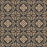 För modellbakgrund för vektor ram för vinranka för blomma för damast sömlös retro kurva för runda spiral arg Elegant lyxig brun s stock illustrationer