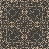 För modellbakgrund för vektor vinranka för kedja för ram för damast sömlös retro kurva orientalisk spiral arg Elegant lyxig brun  stock illustrationer