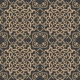 För modellbakgrund för vektor vinranka för kedja för ram för damast sömlös retro kurva orientalisk spiral arg Elegant lyxig brun  royaltyfri illustrationer