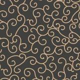 För modellbakgrund för vektor vinranka för ram för damast sömlös retro kurva spiral arg Elegant lyxig brun signaldesign för tapet royaltyfri illustrationer