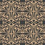 För modellbakgrund för vektor vinranka för ram för växt för damast sömlös retro kurva spiral arg Elegant lyxig brun signaldesign  royaltyfri illustrationer