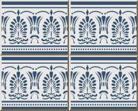 För modellblått för keramisk tegelplatta linje för prick för blad för form för fan för kors för kurva stock illustrationer