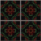 För modellbotanisk trädgård för keramisk tegelplatta blad rött f för gräsplan för kors för kurva royaltyfri illustrationer