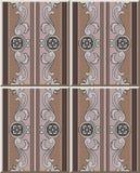 För modellbrunt för keramisk tegelplatta prick l för blomma för runda för ram för kurva för spiral stock illustrationer