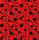 För modelldesign för vektor dragen sömlös blom- hand: Svarta roswi royaltyfri illustrationer