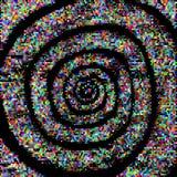 För modelleffekt för vektor rastrerad spiral Kulöra prickcirklar på svart bakgrund Arkivbilder