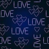 För modellHalogen för vektor sömlös förälskelse Glödande ord förälskelse och hjärtor Stock Illustrationer